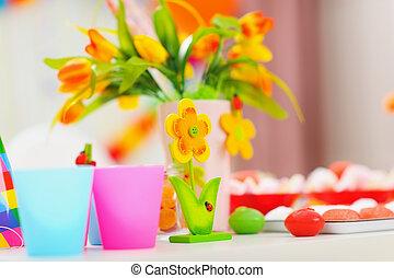 table, décoré, closeup, célébration