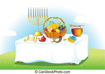 table, décoré, sukkot