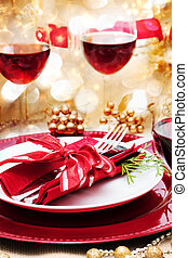 table, dîner, décoré, noël