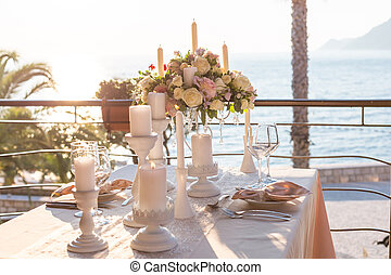 table decorated with flowers