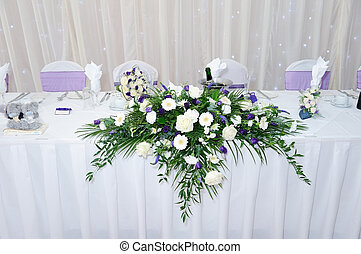 Table decoration at wedding reception