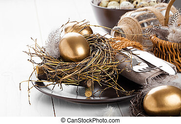 table decoration on white wooden background with Chicken golden