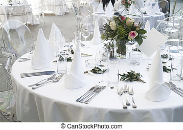 table decoration - a ceremonial decorated dinner table in...
