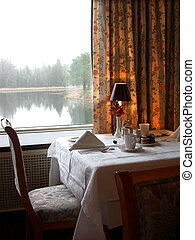 Table d'hote - A hotel in Quebec, table set for dinner