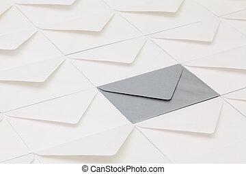 table, différent, enveloppes