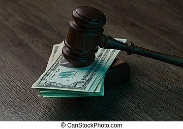 table, dollars, marteau
