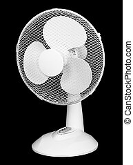 Table electric fan isolated on black background