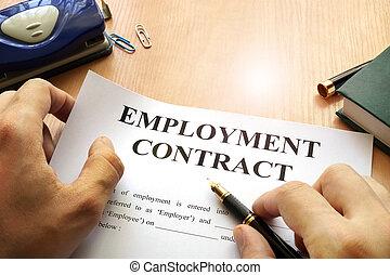 table., emploi, contrat, bureau