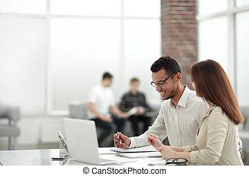 table, employés, bureau, séance
