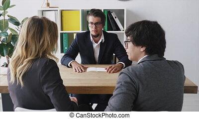table, employés, conversation, homme affaires