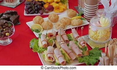 table, encas, restauration, closeup
