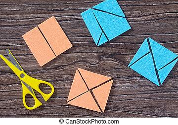 table., enfant, concept, space., tôt, vue, jeu, tangram, sommet, carrée, bois, copie, puzzle, development.