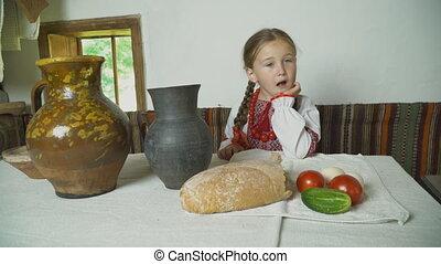 table, enfant, séance