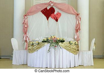 table, ensemble, pour, a, mariage, dîner