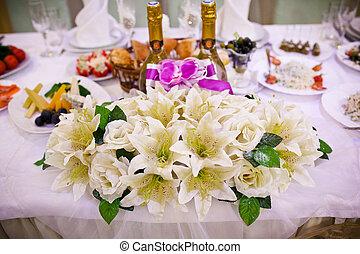 table, ensemble, pour, a, réception mariage