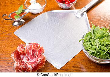 table, espace copy, pizza, ingrédients