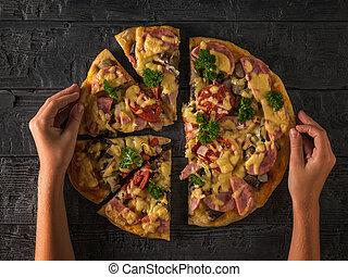 table., fait maison, noir, vue, bébé, frais, bois, pizza, top., mains