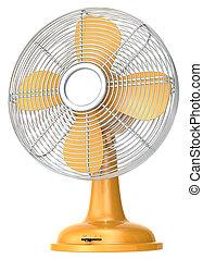 Table fan. - Orange table fan.