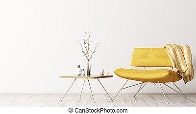 table, fauteuil, intérieur, 3d, rendre, café, jaune