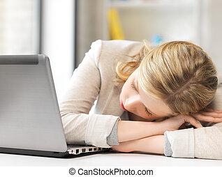 table, femme, dormir, percé, fatigué