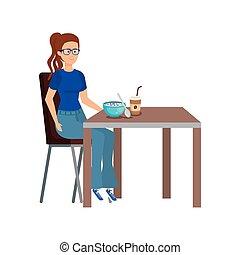 table, femme mange, jeune
