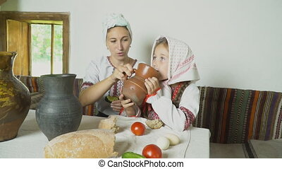 table, fille, maman