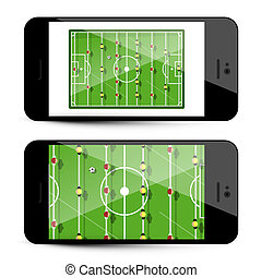 Table Football App on Mobile Phone - Soccer Game Application on Cellphone - Vector Illustration Isolated on White Background
