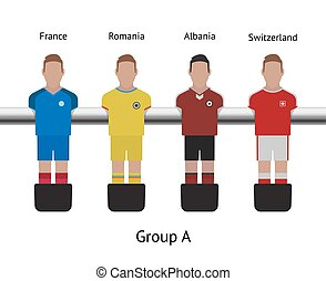 Table football game. foosball soccer player set. France, Romania, Albania, Switzerland