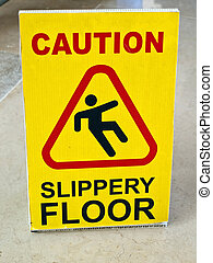 Table for a risk from slippery floor - Image shows a table...