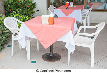 table for breakfast in the cafe