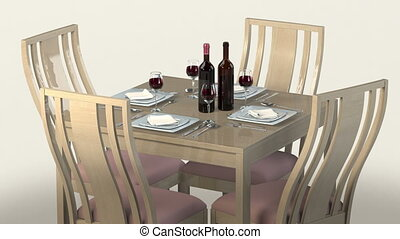 table for four - Table Setting for Four People. 4 Glass of...