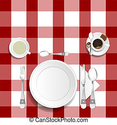 table for lunch with coffee and tea illustration set two