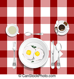 table for lunch with eggs illustration set one