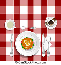 table for lunch with hamburger illustration set one