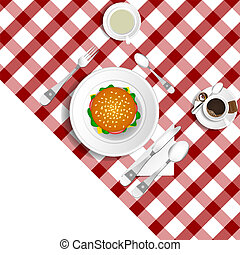 table for lunch with hamburger illustration set two