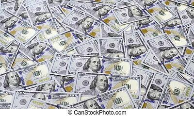 Table full of money in hundred dollar banknotes, camera...