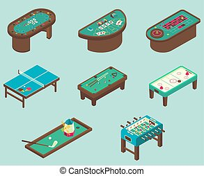 Table game vector flat isometric icon set