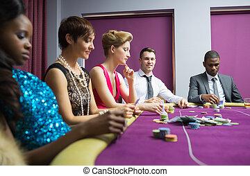 table, gens, poker, séance