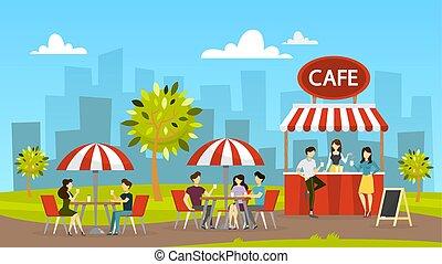 table, gens, rue, cafe., asseoir