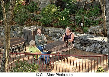 table, gens, trois, séance