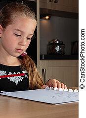table, girl, jeune, devoirs, cuisine