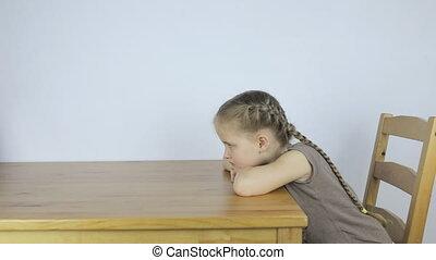 table, girl, percé, seul, séance