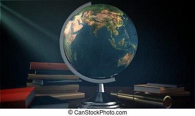 table, globe