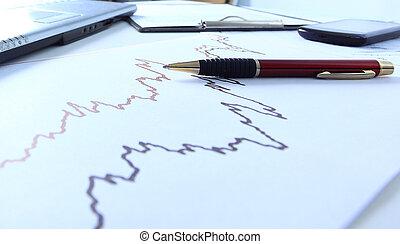 table, graphiques, business, diagrammes
