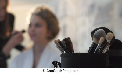 table, gros plan, brosses, maquillage