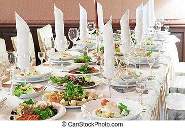 table, gros plan, ensemble, restauration