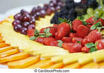 table, gros plan, fruit, ensemble, restauration