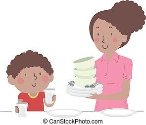 table, haut, illustration, dîner, maman, ensemble, gosse, garçon