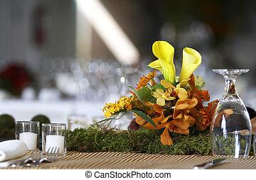 table haute, ensemble, pour, a, mariage, ou, constitué, événement