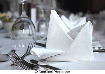 table haute, ensemble, pour, a, mariage